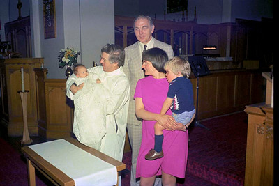 Ruth Hudson, Rev'd David Tatchell, Jim Smythe, Vivienne Hudson and Richard Hudson at Ruth's baptism at Christ Church, Calgary : Sunday 24 April 1977