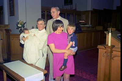 Ruth Hudson, Rev'd David Tatchell, Jim Smythe, Vivienne Hudson and Richard Hudson at Ruth's baptism at Christ Church, Calgary : Sunday 24 April 1977