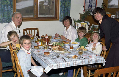 Jim Smythe, Jean Smythe, Richard Hudson [in glasses], Ruth Hudson [checking her collar] and Vivienne Hudson [in brown] at Richard's 8th birthday party in Calgary in 1982.