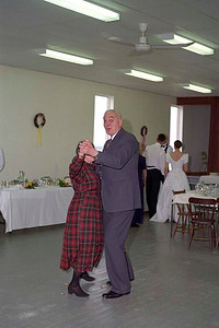 Joy Fine [Ruth and Richard's paternal aunt] and Jim Smythe at Ruth's wedding reception, Mount Whatley, New Brunswick, 2 March 1998