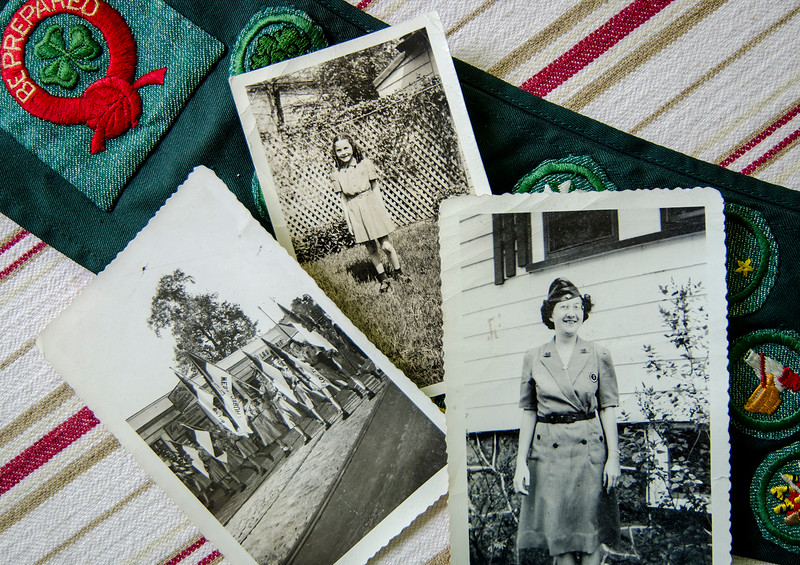 Photographs from 1947 of Joan Webber (center) and her mother (right) as Girl Scout and scout leader. Ashburnham resident Joan Webber has been a member of the Girl Scouts since 1946 and recently received her 65 year pin. SENTINEL & ENTERPRISE / Ashley Green