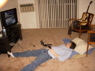 Josh felt at home with his PS3, flat screen and other comforts...