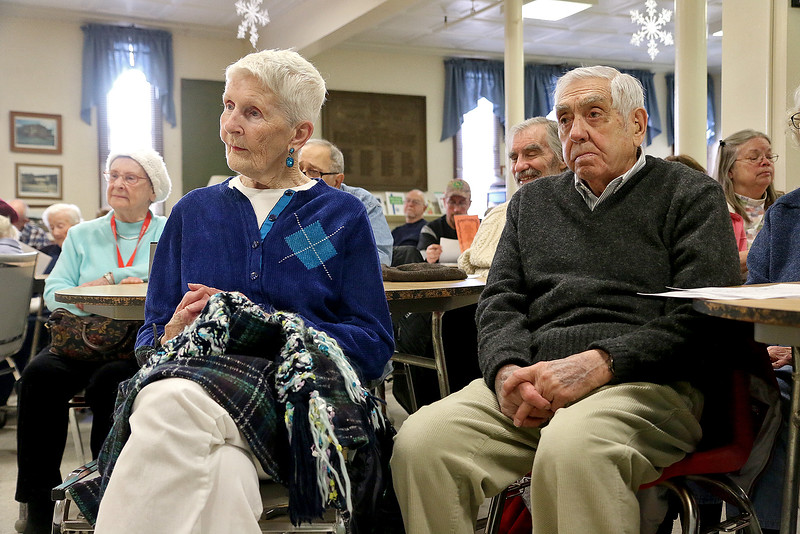 Historian Joy Contois gave a talk on the rediscovering of early Fitchburg from 1740 to 1800 at he Fitchburg Senior Center on Thursday afternoon. Margret Page and Don Maynard listen closely to her talk. SENTINEL & ENTERPRISE/JOHN LOVE