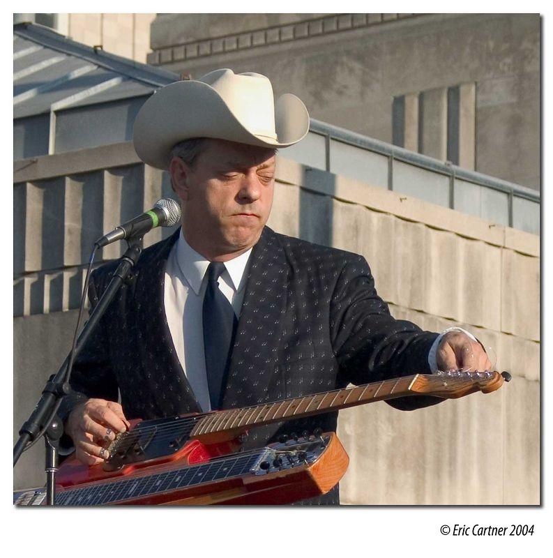 Junior Brown performing in downtown Kansas City.