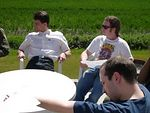After-mission Pilot Debrief. The weather was gorgeous.  Wirdum, Germany; May 2001