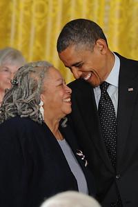 President Barack Obama  bestows the Presidental Medal Award to Toni Morrison