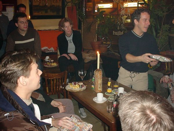 Receiving gifts in café Merleijn in Groningen (notice Petra in the background)