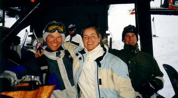 Morgins apres-ski, Jan 2002<br>Martin, Ninette and I