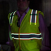 Justin Krook, president of Viz Reflectives of North America, shows off the the photoluminescence reflective material. SENTINEL & ENTERPRISE / Ashley Green