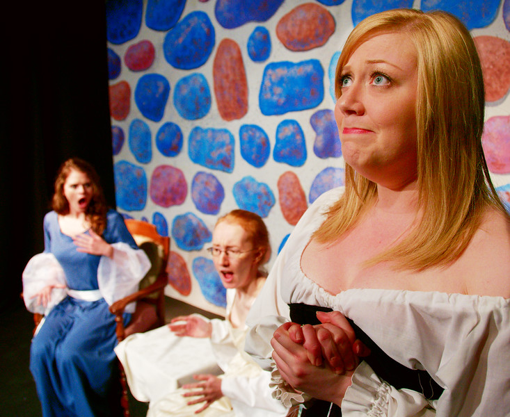 Princess Winsome and Lady Bright are stunned and shocked by Lady Bountiful's revelations.<br /> Jessica MacLeod, Diana Skrzydlo, Colleen Matthews