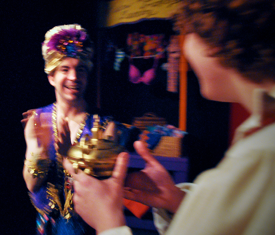 The Genie of the Ring (not the lamp) meets Aladdin.<br /> Rob Card, Spencer Padfield