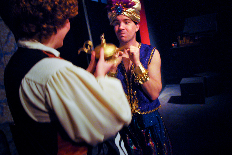 Aladdin shows the Lamp to the Genie of the Ring.<br /> Spencer Padfield, Rob Card