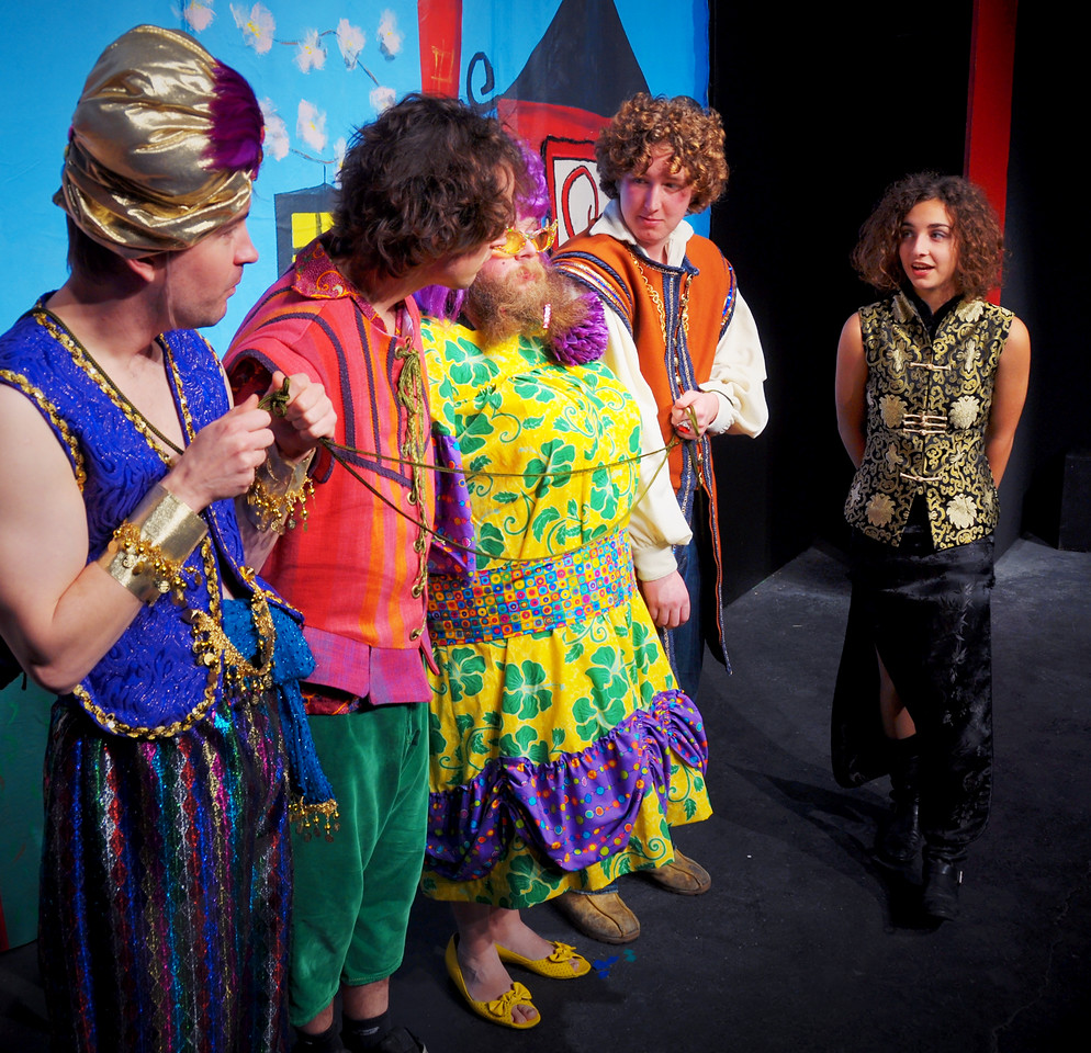 Aladdin's posse held captive by Won Tun<br /> Rob Card, Adam Cyr, Jonathan Dietrich, Spencer Padfield, Carly Derderian