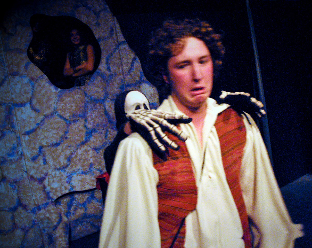 Aladdin encounters a skeleton in the magic cave, while Abanaza and Won Tun look on.<br /> L to R: David Atos, Carly Derderian, Allison Wilson, Spencer Padfield