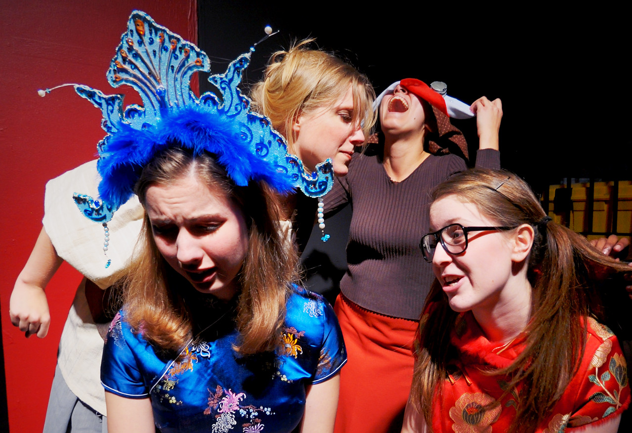 The Princess Martini and her attendant Ting Ming are comforted(?) by prisoners in Abanaza's dungeon.<br /> Visible L to R: Marijana Vorkapic, Jill Skene, Selena Saba, Katie Waters