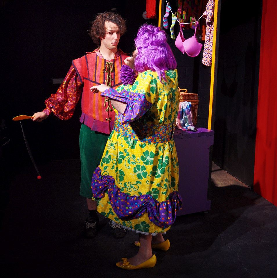 Widow Twankey attempts to knock some sense into Wishy-Washy.<br /> Adam Cyr (left), Jonathan Dietrich
