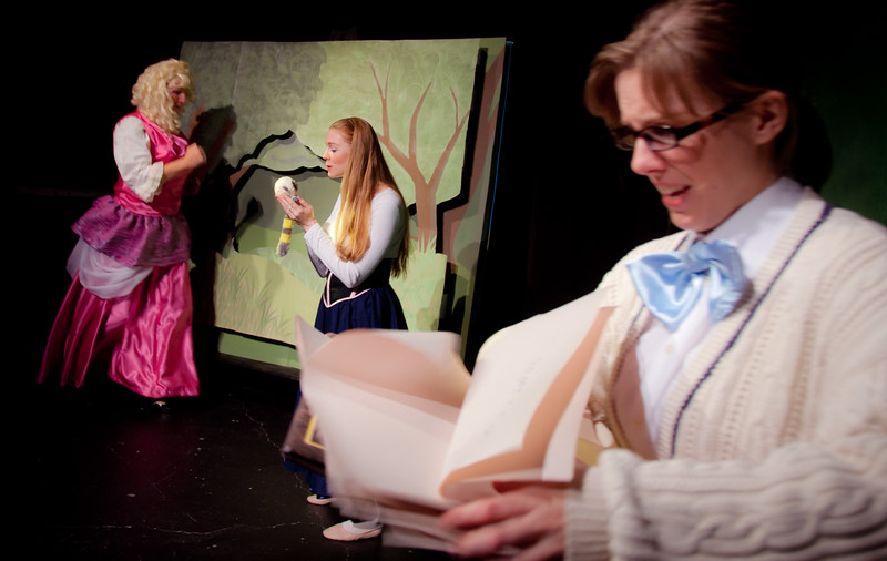And the story is already starting!  FGM flips open the pop-up book to the Enchanted Forest, Cinder White coos and trills to a small animal, and the Narrator... tries to keep up!<br /> <br /> Karl Zaryski, Lisa Hagen, Jill Skene.
