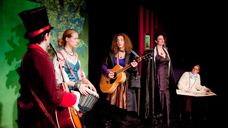 The band, who has overheard the sisters singing, discusses a course of action: tell Cindy at once!  But the Evil Step-Mother overhears them.<br /> <br /> James R Noble, Snow Conrad, Carly Derdarian, Kate Leeming, Jill Skene.
