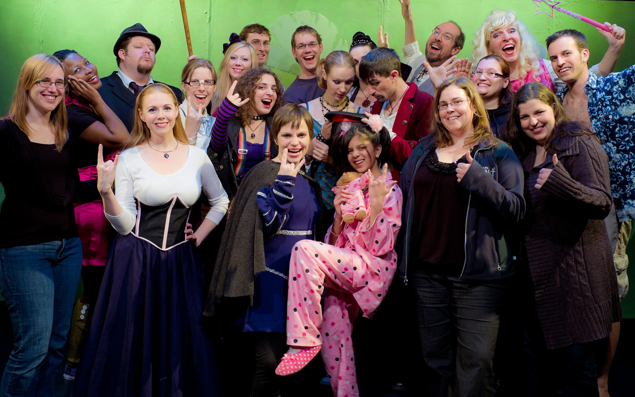 Cast and Crew: L to R: Jessica Schmidt (costumes), Keriece Harris (Daffy), Matthew Wiebe (Fairy Godfather), Lisa Hagen (Cinder White), Jill Skene (Narrator), Colleen Matthews (Shyster), Brian Ellis (grip/dancer), Carly Derdarian (band/???), Carrie McNabb (Prince), David Atos (director), Snow Conrad (band/Rain Melon), Charvi Shah (Lazy), Kate Leeming (Stepmother), James Noble (band/Capt. Lavender), Sean M Puckett (Prince's Assistant), Stacey Saunders (stage manager), Ann Buchanan (asst. stage manager), Karl Zarysky (Fairy Godmother), Heather Bigelow (asst. stage manager/props), Gilad Israeli (asst. stage manager/grip/dancer).