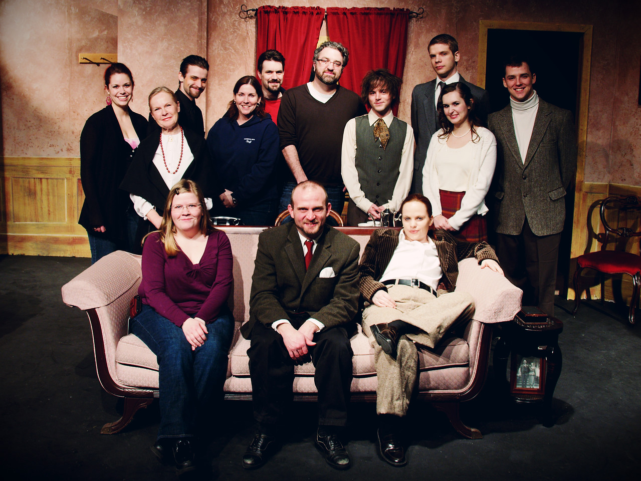 Cast and Crew<br /> <br /> Standing:  Miranda McKinley, Sheena Gilks, Adam Sanderson, Lori Williams, Mat Kelly, Andrew Salter, Josh Ezekiel, Liam Frape, Lindsay Palmateer, Adam Cyr,<br /> Seated: Jenny Hill, Tye Zinger, Carrie McNabb<br /> Missing: Jonny Arnold, Dustin Windibank