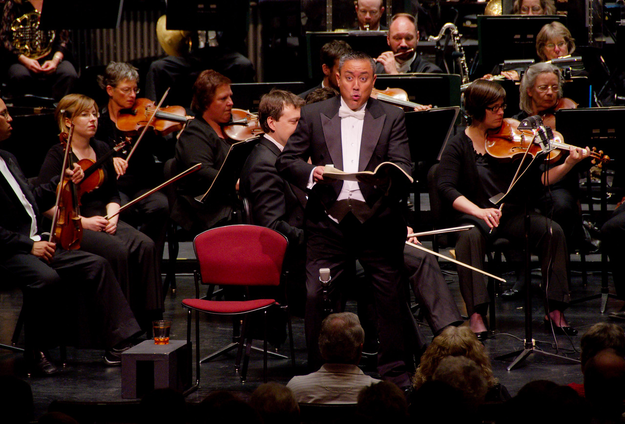 Brian Asawa.<br /> <br /> Kitchener-Waterloo Symphony performance of Carmina Burana at Centre in the Square, 2010-May-28, Edwin Outwater conducting.  Soloists: soprano Carla Huhtanen, countertenor Brian Asawa, baritone Hugh Russell. Featuring the Grand Philharmonic Choir plus Grand Philharmonic Children's Choir.  Photography Copyright 2010 Sean M Puckett, all rights reserved, do not use without permission.