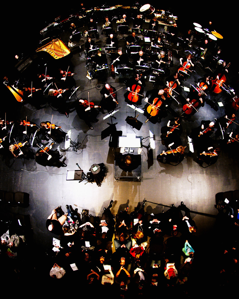 Music Director Edwin Outwater conducts the Kitchener-Waterloo Symphony in this overhead shot of a performance at the Conrad Centre for the Performing Arts.