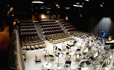 Performance space at the Conrad Centre for the Performing Arts. (Your humble narrator appears at upper right.)
