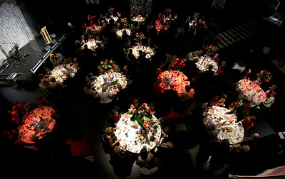 Dinner party from overhead.