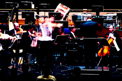Guest solist James Ehnes performs with the Kitchener-Waterloo symphony conducted by Edwin Outwater.  Long exposure effect.