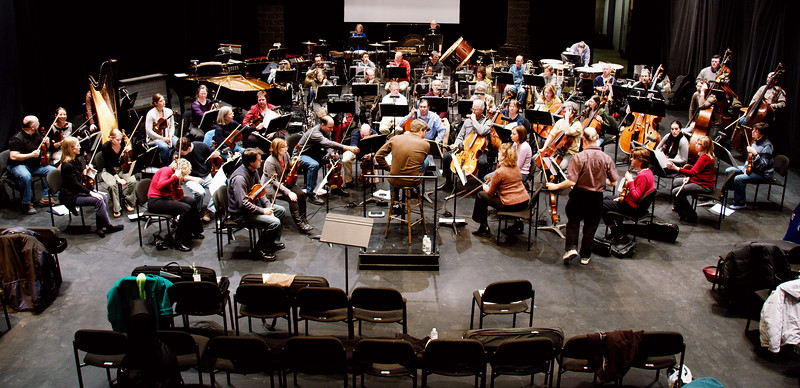 Rehearsal (and performance) in the Conrad Centre can be a somewhat cramped affair.