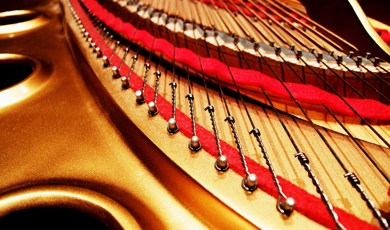 Yamaha piano, detail.