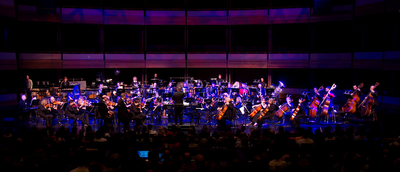 Musical interlude.  The Kitchener-Waterloo Symphony presents STAR TREK, the music, conducted by John Morris Russell, with special hosts John de Lancie (Q) and Robert Picardo (Voyager: The Doctor).  Photograph copyright 2010 Sean M Puckett, all rights reserved.