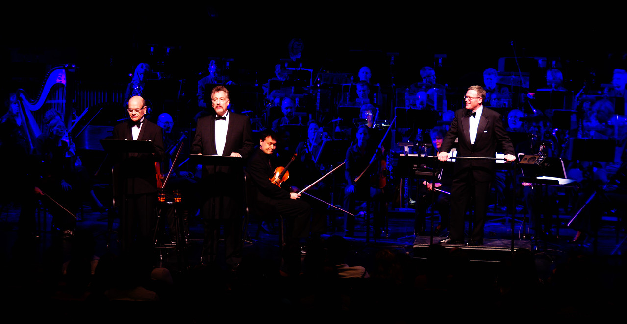 Storytelling with Robert Picardo and John de Lancie.  The Kitchener-Waterloo Symphony presents STAR TREK, the music, conducted by John Morris Russell, with special hosts John de Lancie (Q) and Robert Picardo (Voyager: The Doctor).  Photograph copyright 2010 Sean M Puckett, all rights reserved.