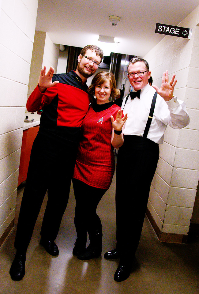 Principal bass Ian Whitman, Allene Chomyn and John Morris Russell, conductor.  The Kitchener-Waterloo Symphony presents STAR TREK, the music, conducted by John Morris Russell, with special hosts John de Lancie (Q) and Robert Picardo (Voyager: The Doctor).  Photograph copyright 2010 Sean M Puckett, all rights reserved.