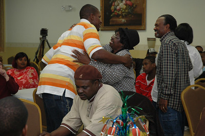 Wearing a polo shirt with Florida State  colors and new Sean John jeans, Kamerion made his way around the room like a groom at a wedding reception.  He went table to table, smiling and making people smile.