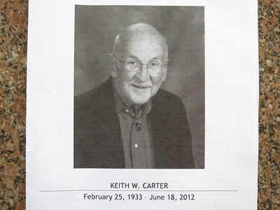Program for Keith Carter's service at First Congregational Church, UCC - Monday morning, June 25th.