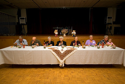 Head table - Mike Borhen, Tom Rosychuk, Mary Rosychuk, Annie Prusko, Eleanor Sorokan, Patricia Gogowich and Jackie Oranchuk with Emmalie Shurtz.