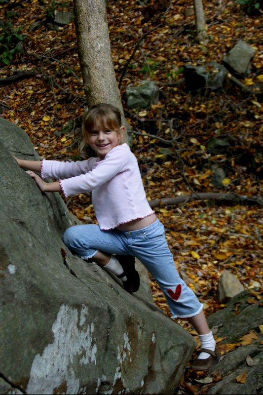 Julia has fun on a rock bigger than she is (and bigger than the rest of us, too!).  This rock is along the trail as you climb Amicalola Falls (October, 2004)