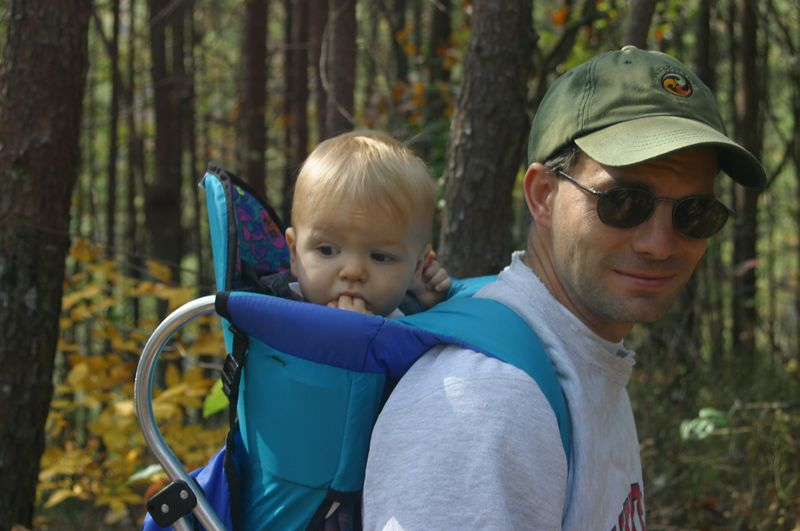 Clay's along for the ride as Alan Rosselot enjoys the Tallulah Gorge trails (October, 2003)