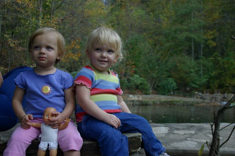 Abbey Robbins and Madeline Washburn take a break on a bench at Amicalola Falls (October, 2004)