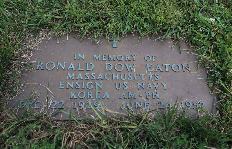 Gravestone of US Navy Ens. Ronald Dow Eaton, at Wildwood Cemetery in Wilmington, Eaton was missing in action in Korea, and his body was never recovered. (SUN/Julia Malakie)