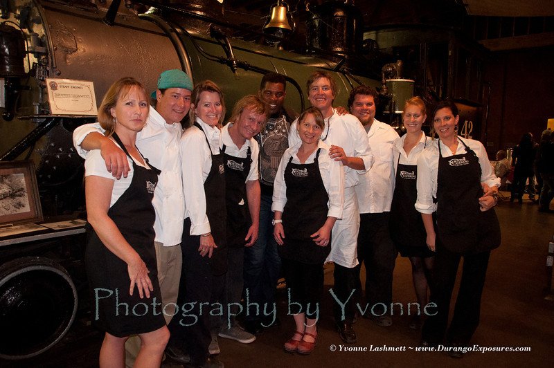 Most of the Norton's Catering crew stop for a pose with Herschel Walker.
