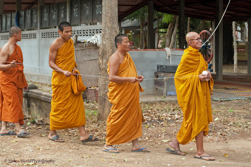 Monks Lead Funeral Procession To the Local Wat