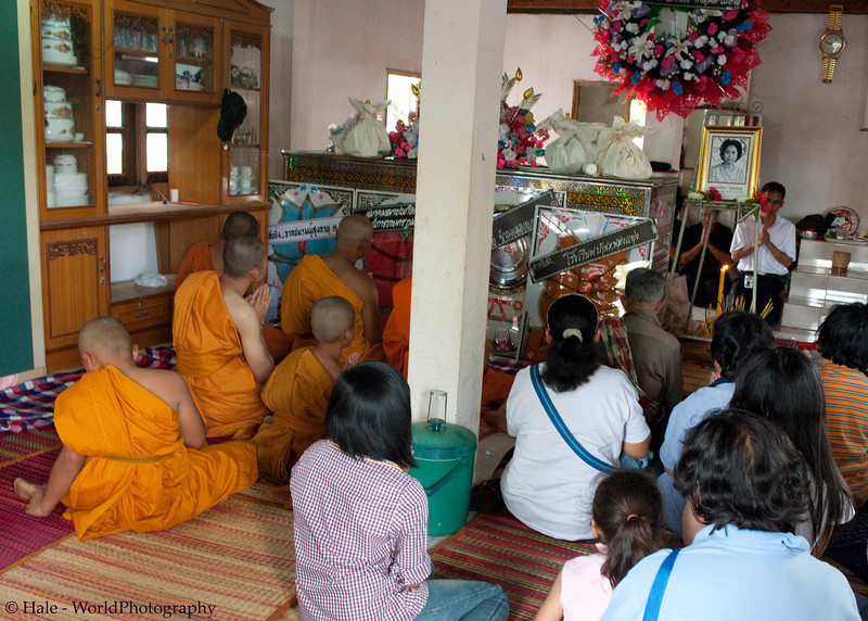 Merit Making Ritual Inside the Deceased Person's Home