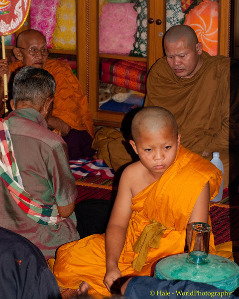 A Grandson, A Monk for the Three Day Ritual Period, Participates in Merit Making Ceremony