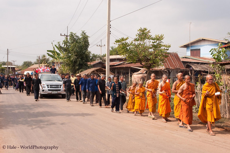 Funeral Procession Walking to Wat