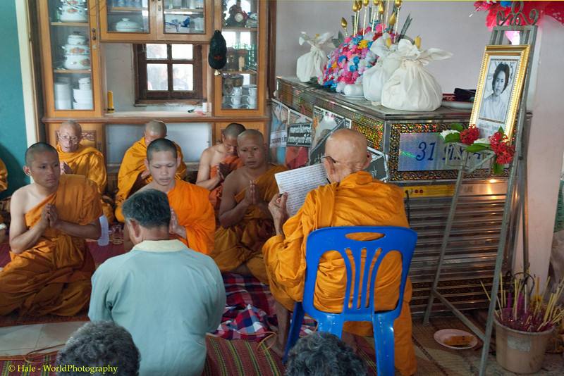 Merit Making Ritual Inside the Deceased Woman's Home