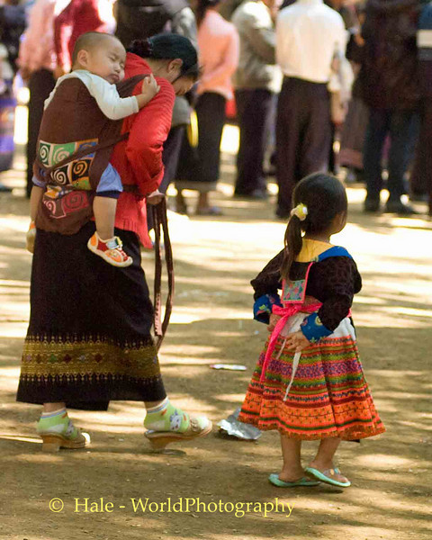 Hmong Mother and Children at New Year Festival in Luang Prabang, Laos
