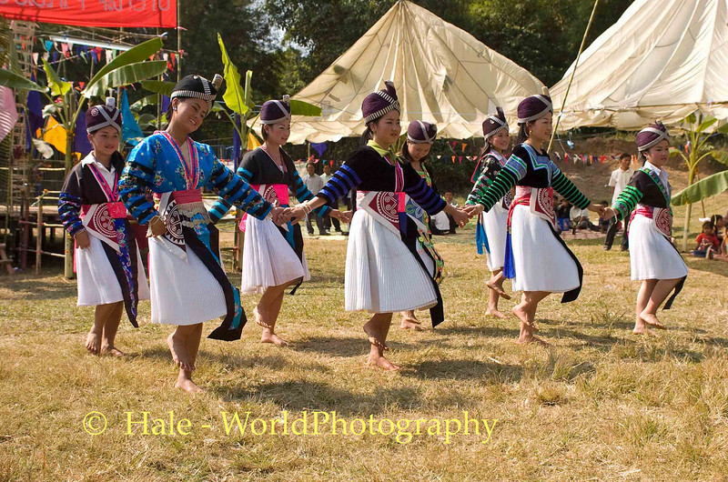 Hmong Girls Dancing, Luang Prabang, Laos