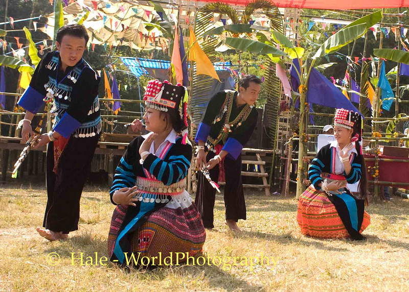 Hmong Boys and Girls Dancing, New Year Festival, Luang Prabang, Laos